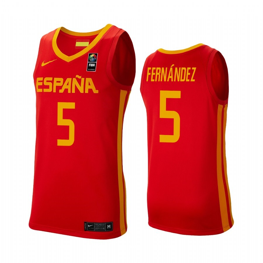 Maillot Coupe Du Monde Basket FIBA 2019 Spain NO.5 Rudy Fernandez Rouge