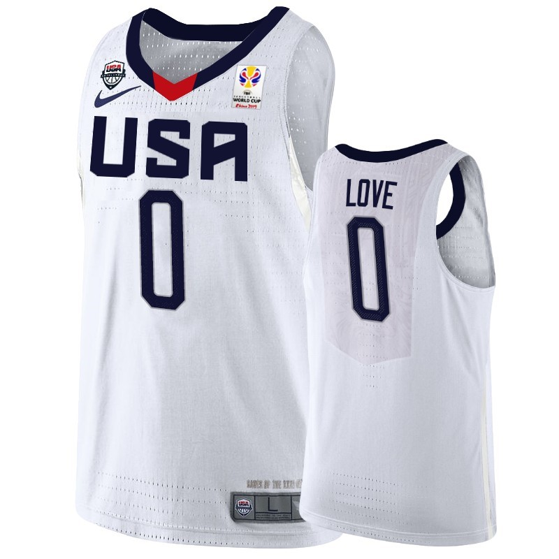 Maillot Coupe Du Monde Basket FIBA 2019 USA NO.0 Kevin Love Blanc
