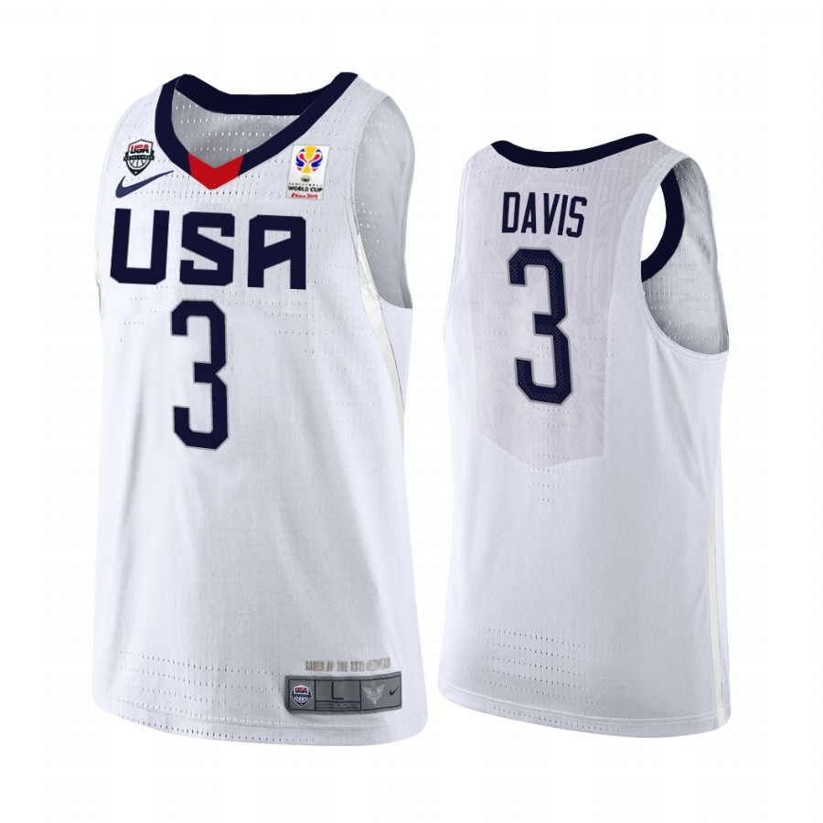 Maillot Coupe Du Monde Basket FIBA 2019 USA NO.3 Anthony Davis Blanc