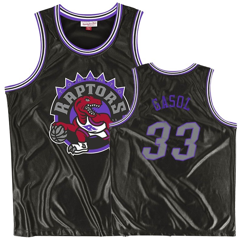 Maillot NBA Toronto Raptors NO.33 Marc Gasol Noir Throwback