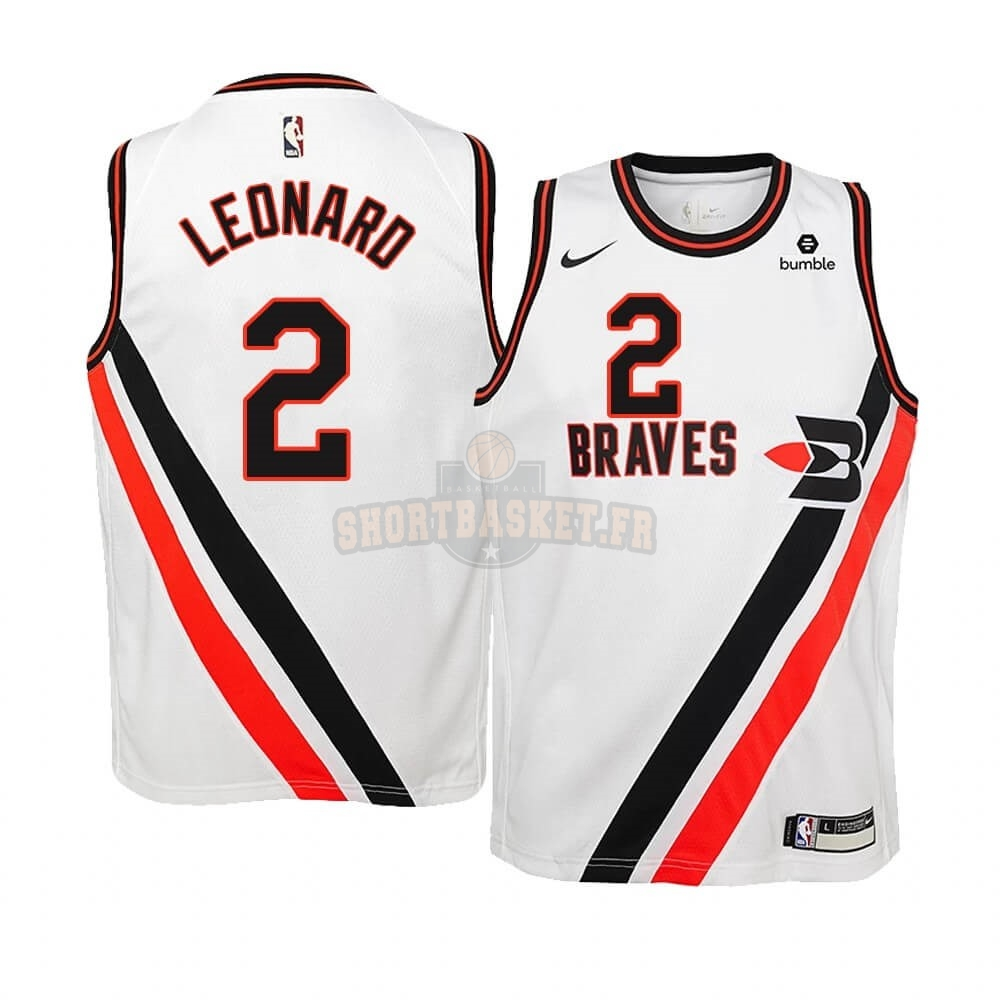Nouveau Maillot NBA Enfant Earned Edition Los Angeles Clippers NO.2 Kawhi Leonard Blanc pas cher