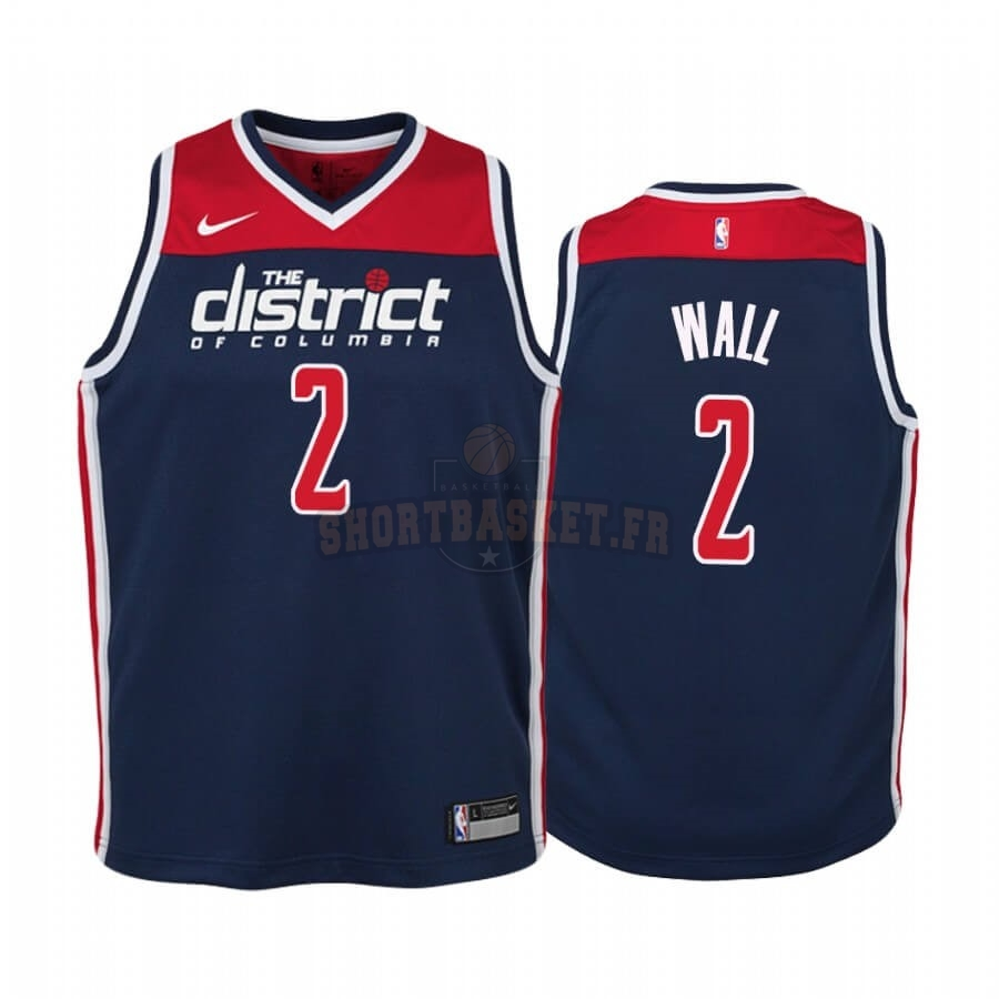 Nouveau Maillot NBA Enfant Washington Wizards NO.2 John Wall Marine Statement 2019-20 pas cher