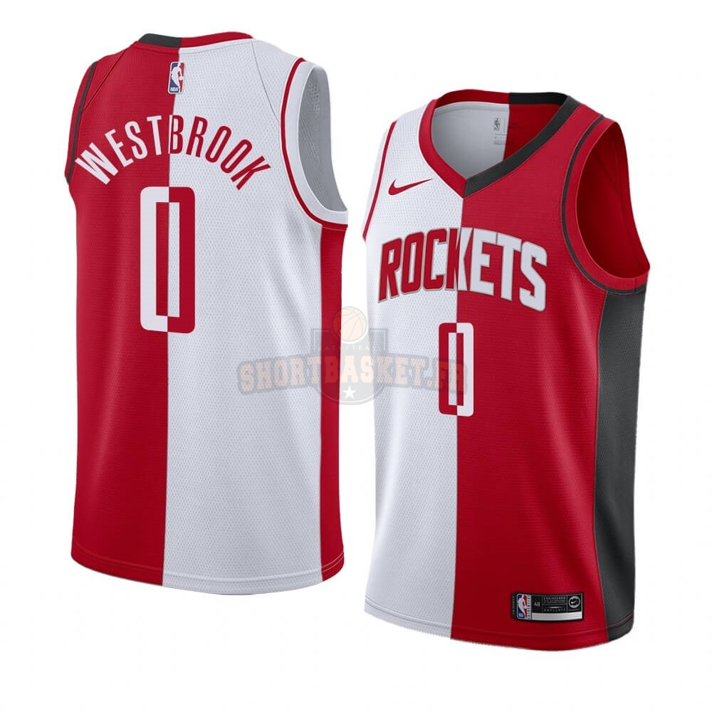 Nouveau Maillot NBA Nike Houston Rockets NO.0 Russell Westbrook Rouge Blanc Split Edition pas cher