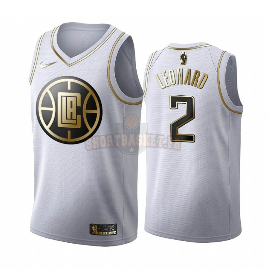 Nouveau Maillot NBA Nike Los Angeles Clippers NO.2 Kawhi Leonard Blanc Or 2019-20 pas cher