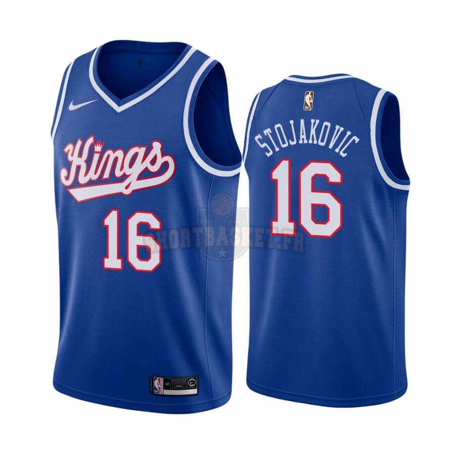 Nouveau Maillot NBA Sacramento Kings NO.16 Peja Stojakovic Bleu Throwback pas cher