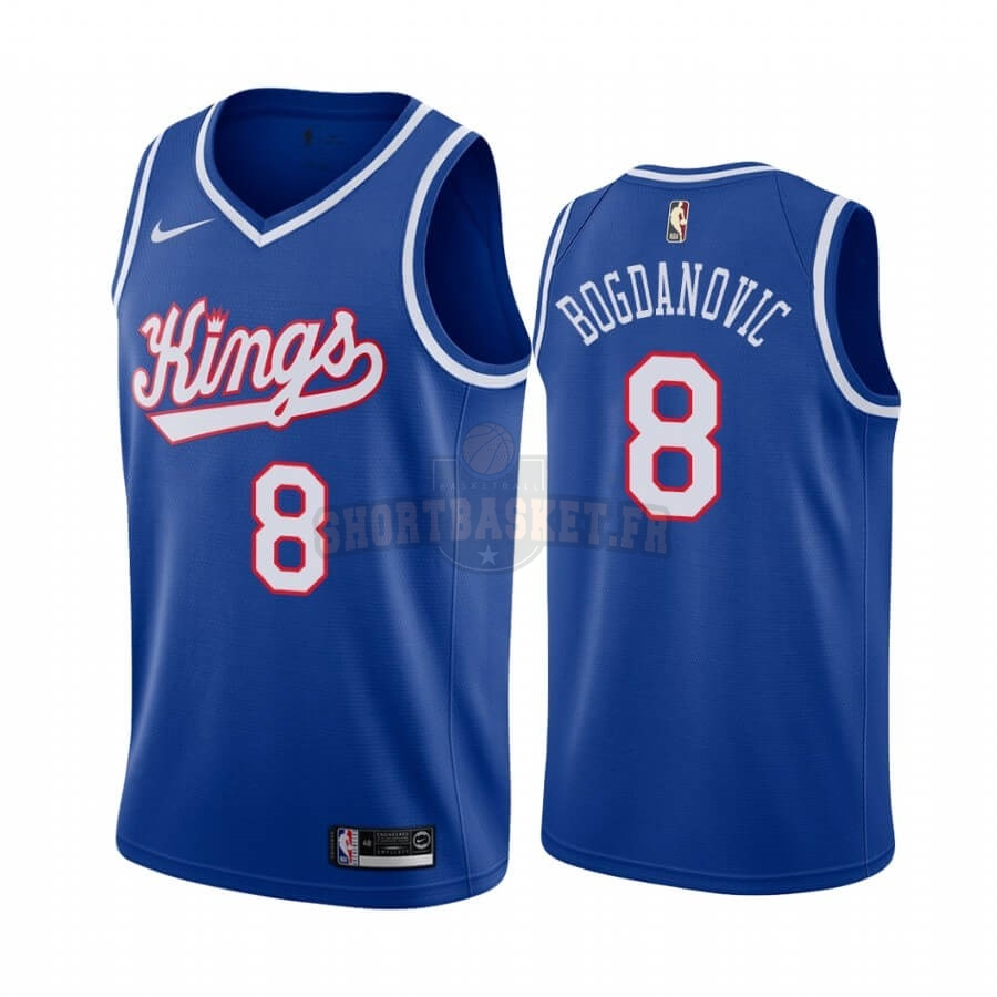 Nouveau Maillot NBA Sacramento Kings NO.8 Bogdan Bogdanovic Bleu Throwback pas cher