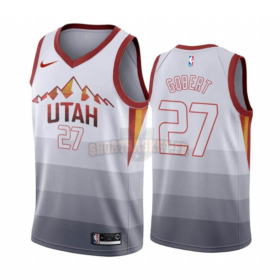Nouveau Maillot NBA Utah Jazz NO.27 Rudy Gobert Blanc Throwback pas cher