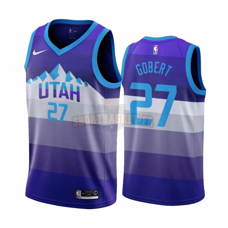 Nouveau Maillot NBA Utah Jazz NO.27 Rudy Gobert Pourpre Throwback pas cher