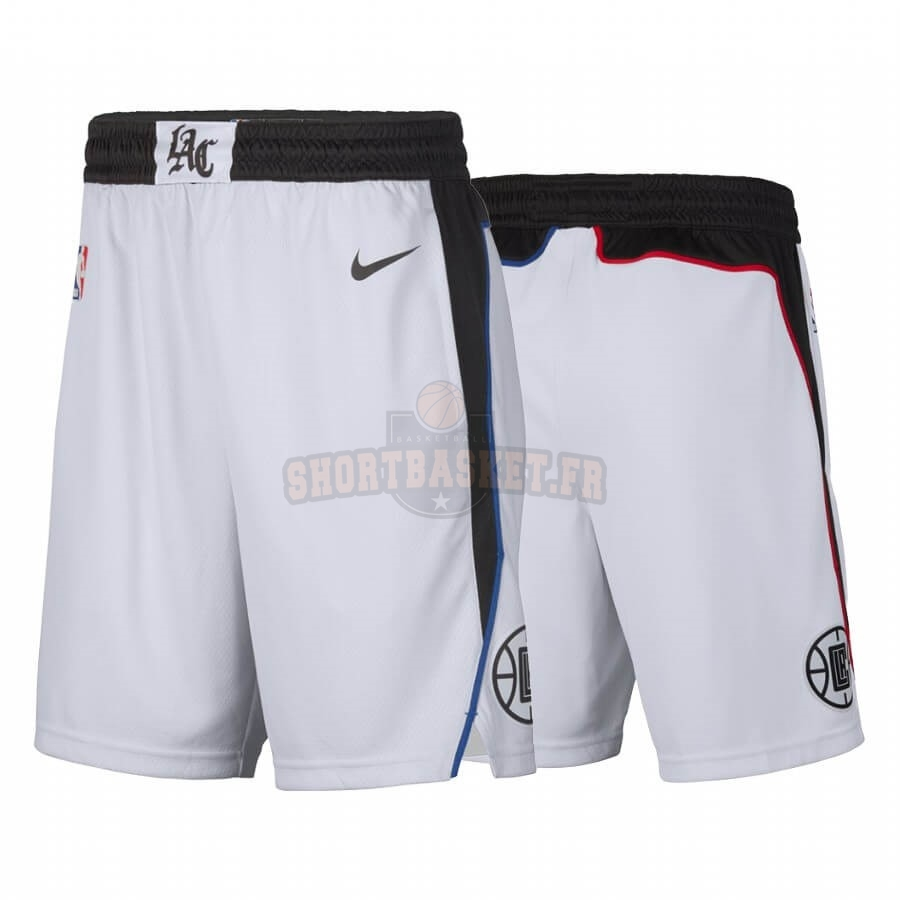 Nouveau Short Basket Los Angeles Clippers Nike Blanc Ville 2019-20 pas cher