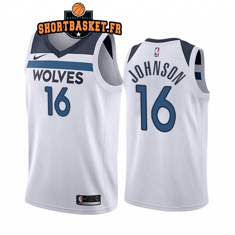 Maillot NBA Nike Minnesota Timberwolves NO.16 James Johnson Blanc Association 2019-20