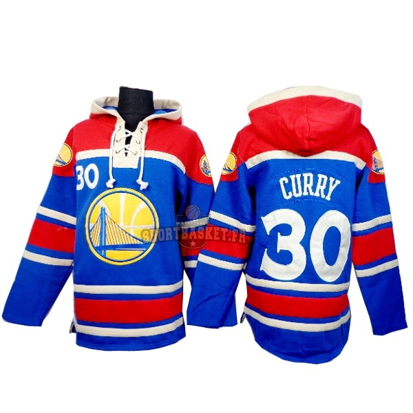 Nouveau Hoodies NBA Golden State Warriors NO.30 Curry Bleu Rouge pas cher