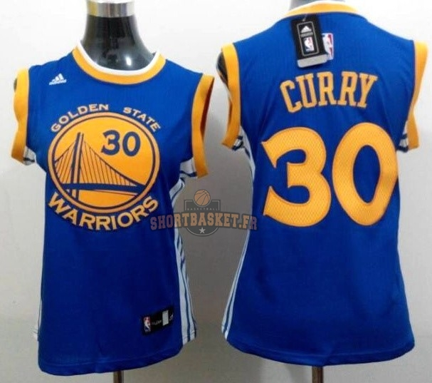 Nouveau Maillot NBA Femme Golden State Warriors NO.30 Stephen Curry Bleu Jaune pas cher