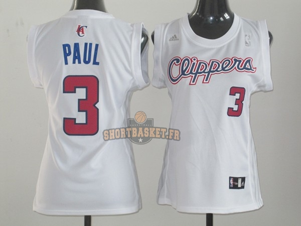 Nouveau Maillot NBA Femme Los Angeles Clippers NO.3 Chris Paul Blanc pas cher
