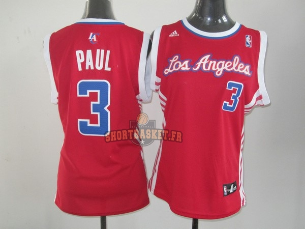 Nouveau Maillot NBA Femme Los Angeles Clippers NO.3 Chris Paul Rouge pas cher