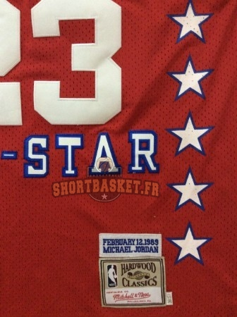 Nouveau Maillot NBA 1989 All Star NO.23 Michael Jordan Rouge pas cher