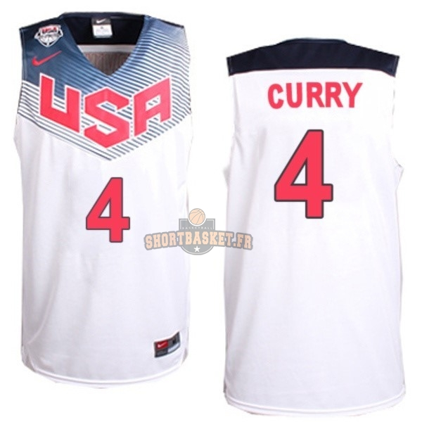 Nouveau Maillot NBA 2014 USA NO.4 Curry Blanc pas cher