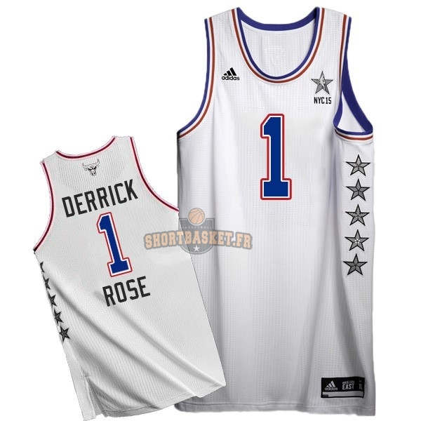 Nouveau Maillot NBA 2015 All Star NO.1 Derrick Rose Blanc pas cher