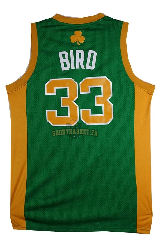 Nouveau Maillot NBA Boston Celtics No.33 Larry Joe Bird Vert Orange pas cher