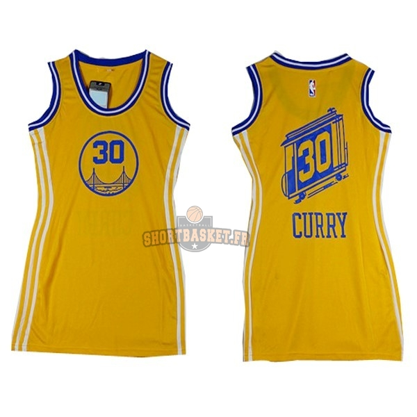 Nouveau Maillot NBA Femme Golden State Warriors NO.30 Stephen Curry Jaune pas cher