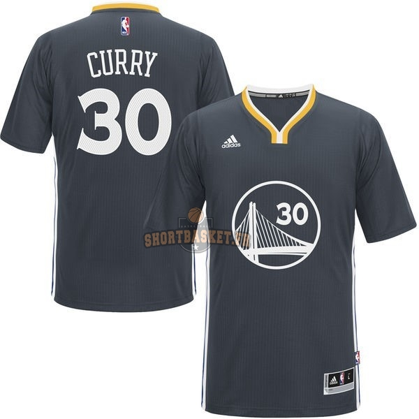 Nouveau Maillot NBA Golden State Warriors Manche Courte NO.30 Stephen Curry Noir pas cher