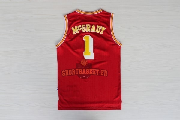 Nouveau Maillot NBA Houston Rockets NO.1 Tracy McGrady Retro Rouge Or pas cher