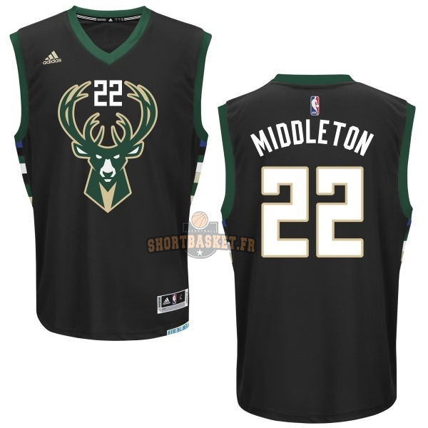 Nouveau Maillot NBA Milwaukee Bucks NO.22 Khris Middleton Noir pas cher