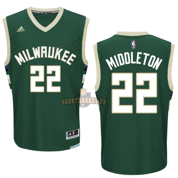 Nouveau Maillot NBA Milwaukee Bucks NO.22 Khris Middleton Vert pas cher