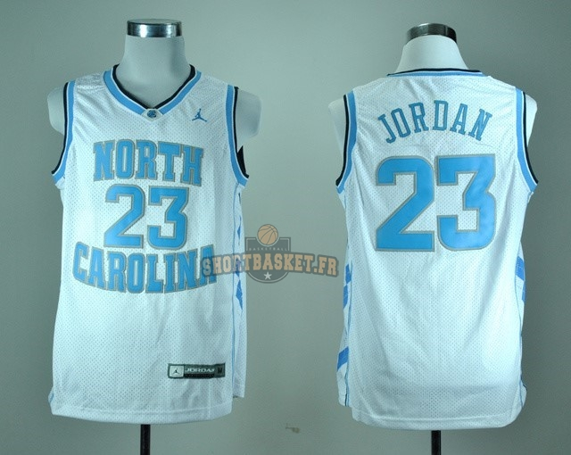 Nouveau Maillot NCAA North Carolina NO.23 Michael Jordan Blanc pas cher