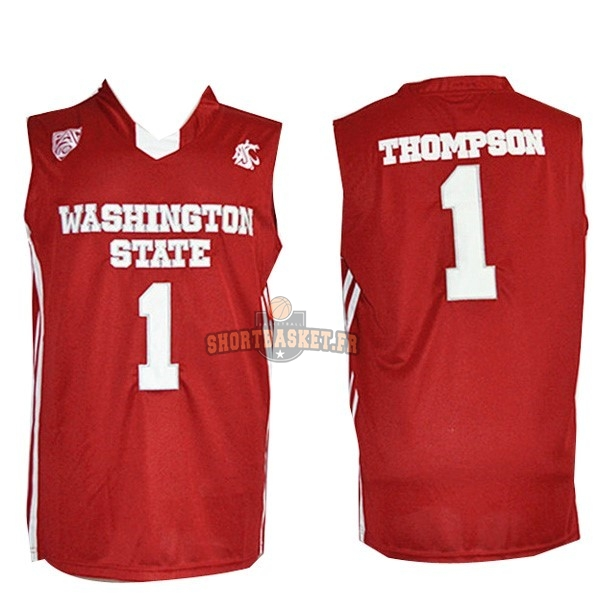 Nouveau Maillot NCAA Washington State NO.1 Thompson Rouge pas cher