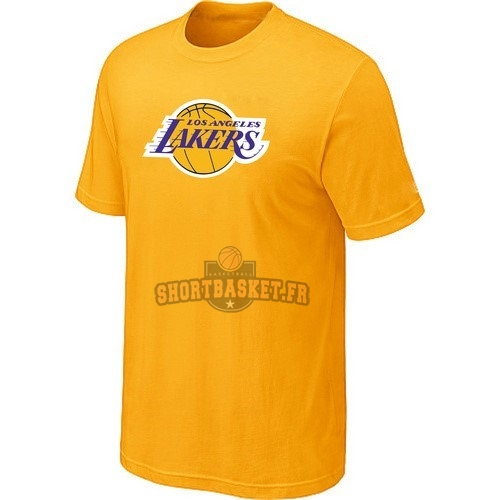 Nouveau T-Shirt Los Angeles Lakers Jaune pas cher