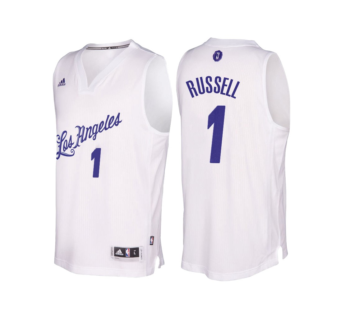 Nouveau Maillot NBA Los Angeles Lakers 2016 Noël NO.1 D'Angelo Russell Blanc pas cher