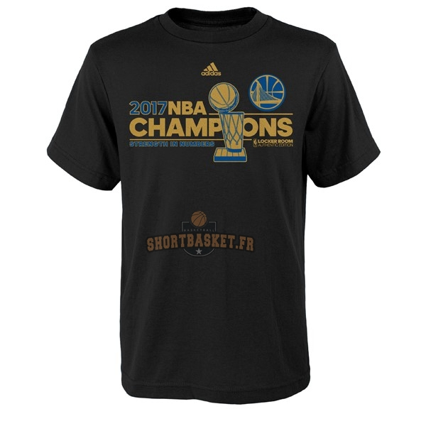Nouveau T-Shirt Golden State Warriors Champions 2017 Noir Or pas cher